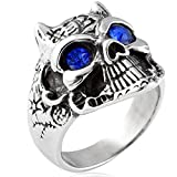 Best Amazon Curated Collection Cz Rings - Stainless Steel CZ Inlaid Vintage Retro Biker Skull Review