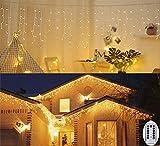3M Lichterkette Eisregen Außen Lichtervorhang Batterienbetrieben Weihnachten Deko Lichter Innen Lichterkette für Garten...
