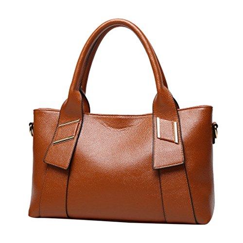 YiLianDa Umhängetasche Damen Henkeltasche Tote PU Leder Schultertasche Damen Tasche Crossbody Handtasche für Frauen Braun