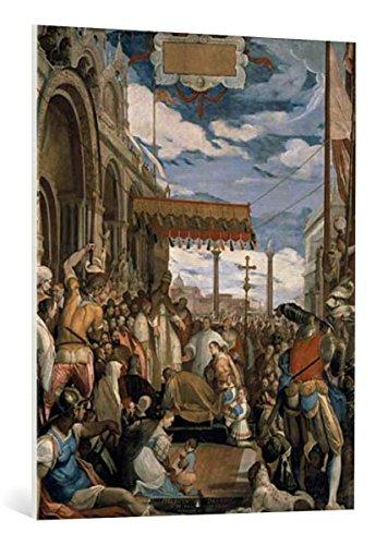 kunst für alle Leinwandbild: Federico Zuccari Kaiser Friedrich Barbarossa küßt Papst Alexander III den Fuß - hochwertiger Druck, Leinwand auf Keilrahmen, Bild fertig zum Aufhängen, 80x100 cm