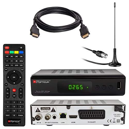 Opticum HD Terra HD 265 Plus HEVC DVB-T/T2 - Receptor y Antena de Varilla pasiva...