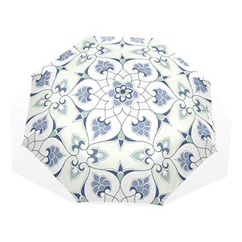 EZIOLY Traditioneller arabischer Reise-Regenschirm mit Blumenmuster, leicht, UV-Schutz, Sonnenschirm...