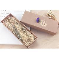 Plumes marque-page eMosq en laiton métallique fait à la main dans un superbe coffret cadeau key-antique bronze