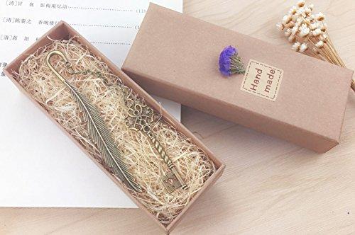 eMosQ Segnalibro in metallo, con rivestimento in ottone, a forma di piuma, classico, realizzato a mano, in confezione regalo key-antique bronze