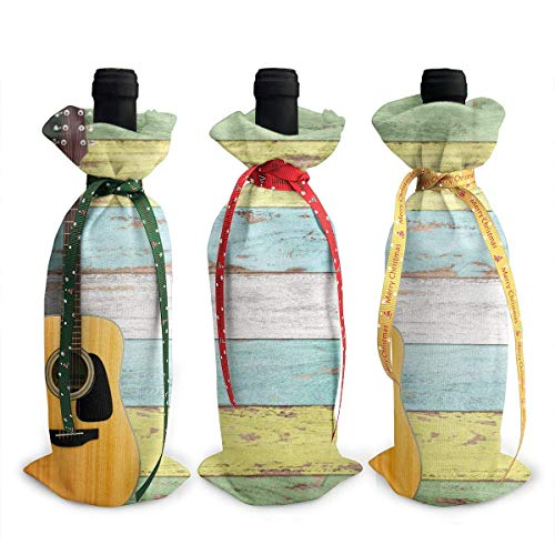 Akustikgitarre Auf Bunt Bemalt 3 Stücke Weihnachten Weinflasche Abdeckung Tasche Set Urlaub Rotwein Champagner 13 X 4,5 Zoll, Bar Küche Weihnachten Familie