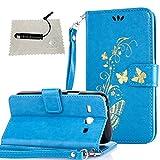 TOCASO hülle für Samsung Galaxy Core Plus (GT-G3500 / SM-G350 / G3502) Blau, Flip Tasche per Samsung Galaxy Core Plus (GT-G3500 / SM-G350 / G3502) Hülle Case Wallet ID Karte s Silikon Kunst