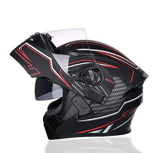 PQ&D Double Sports Integralhelm, Cool Four Seasons Eckhelm Helm für Autorennen Flip-Typ Offroad-Motorradhelm,XXL -