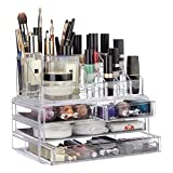 Relaxdays Make Up Organizer mit 4 Schubladen, Lippenstift Halter, Ablagen für Kosmetik, Acryl Make Up Kit, transparent