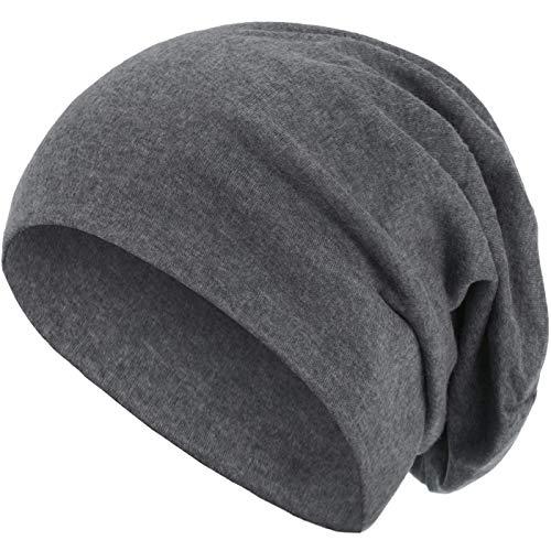 style3 Warme Herbst Winter Slouch Beanie XXL aus atmungsaktivem, feinem und leichten Jersey Unisex Mütze Wintermütze Einheitsgröße, Farbe:Grau