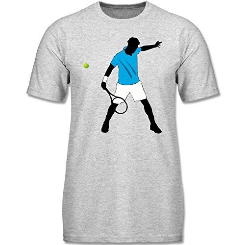 Shirtracer Sport Kind - Tennis Spieler Squash - 152 (12-13 Jahre) - Grau Meliert - F140K - Jungen T-Shirt