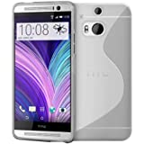 Htc One M8 (Clear / Transparent) Soft Tpu Jelly Rubber Gel Skin Case Cover Plus Screen Protector & Cleaning Cloth