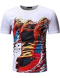 eea920c43 Waotier Camiseta De Manga Corta para Hombre Camiseta Cuello Redondo con  Estampado 3D para Hombre Ropa