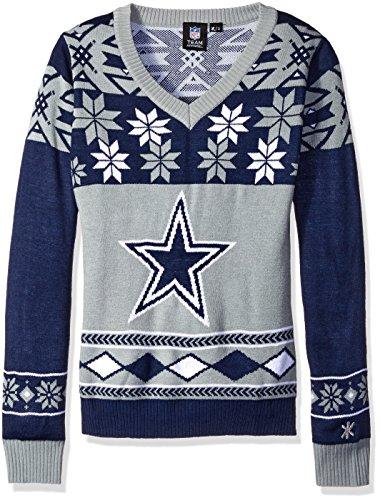 9673a0f1d6b Dallas Cowboys NFL Women s Big Logo V-Neck Ugly Christmas Sweater  Small