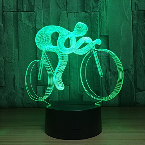 LT&NT Lampe 3D équitation Illusion d'Optique LED Lights Table Lampe veilleuse 7 Couleurs changeantes USB Tactile noël Cadeaux d'Anniversaire pour Les Enfants -Toucher