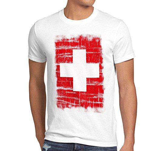 Schweiz Vintage Flagge Herren T-Shirt Switzerland, Größe:M;Farbe:Weiß - Meisterschaft Vintage-t-shirt