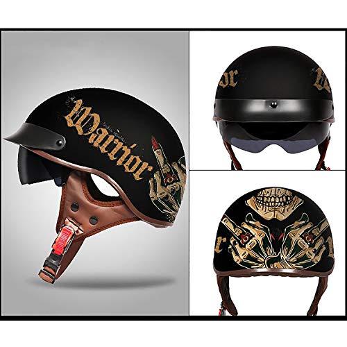 MMGIRLS Adulti Retro Casco Moto Harley Mezzo Casco Fresco Occhiali da Sole di Moda per Uomini e Donne Si applicano - Modello Creativo,XXL