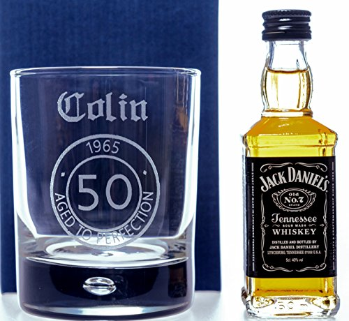 LASER Engraved/Personalised AGED TO PERFECTION Birthday Glass Tumbler + Jack Daniels Miniature Gift Set For Dad/Grandad/Mum/Nan