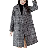 OSYARD Damen Wintermantel,Mäntel,Windbreaker, Frauen Mode Vintage Winterparka Trenchcoat Winter Warm Langarm Knopf Fleecemantel Jacke Mantel Wollmantel Umlegekragen Ubergangsjacke Coat