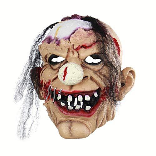 otten Zombie Clown Teufel Schädel Abdeckung Bloody Zombie Maske Schmelzen Gesicht Erwachsenen Latex Kostüm Halloween Cosplay Kostüm Scary Prop ()