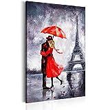 murando - Bilder 80x120 cm - Leinwandbild - 1 Teilig - Kunstdruck - modern - Wandbilder XXL - Wanddekoration - Design - Wand Bild - City Stadt Paris Paar Architektur - wie gemalt rot grau h-B-0089-b-a