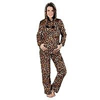 Ladies Brown Leopard Print Hood Fleece Pyjama Set PJs Top & Bottoms Nightwear S