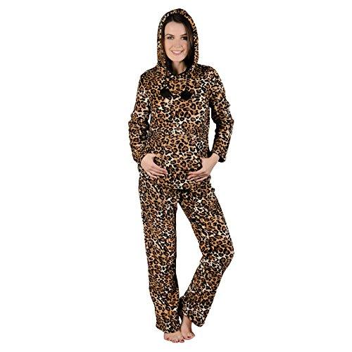 Damen Braun Leopard Fleece Pyjama PJ Oberteil & Hose Nachtwäsche Set - M (Fleece Hose Leopard)