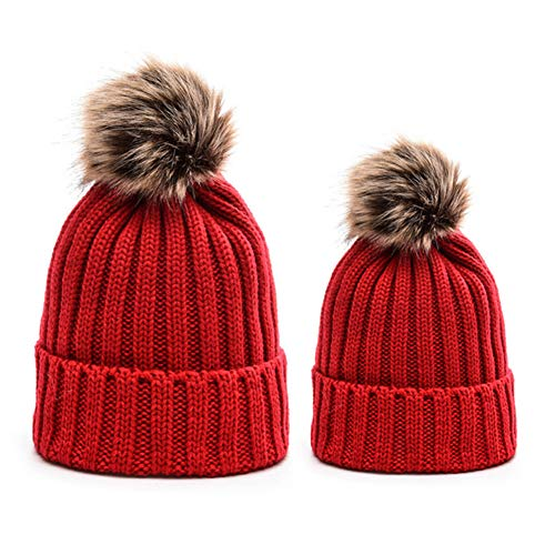 mxdmai 2 Stück Mutter und Baby Wintermütze Dicke Parent-Child Strickmütze Warme Fleece-Futter Familie Mütze Beanie Hut mit Süßem Bommel für Damen und Mädchen, Rot