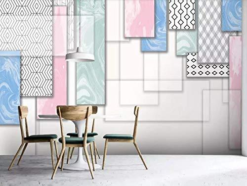 Carta Da Parati 3D Fotomurali Quadrati Geometrici Astratti Rosa Semplici Ed Eleganti Fotomurali 3D Effetto Wallpaper Murale Decorazione