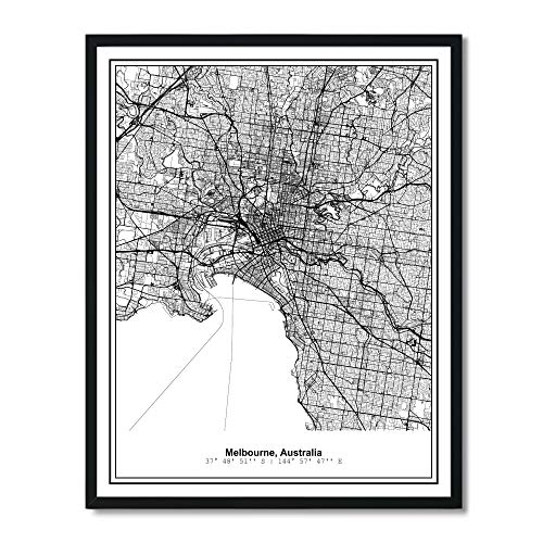 Susie Arts V274 Poster, ungerahmt, Melbourne Australia Metropolitan City View, abstrakte Straßenkarte