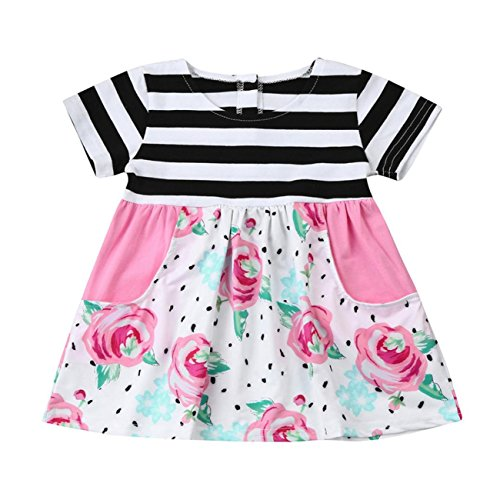 Ansenesna Kleinkind Baby Girls Floral Striped Princess Kleid Outfits Kleidung (100, multicolor)