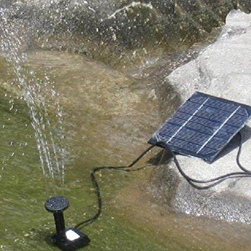 Hinmay Solarbrunnen, solarbetriebene Vogeltränenpumpe, 1,2 W, kreisförmig, Solarbetriebene Wasserpumpe, schwimmende Springbrunnenpumpe für Teich, Pool, Garten, Aquarium, Mini-Wasserpumpe