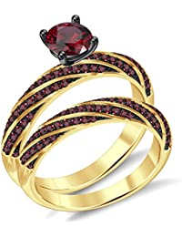 Silvernshine 2.35Ct Round RedGarnet CZ Diamonds 18K YellowGold PL 7-Row Engagement Bridal Ring Set