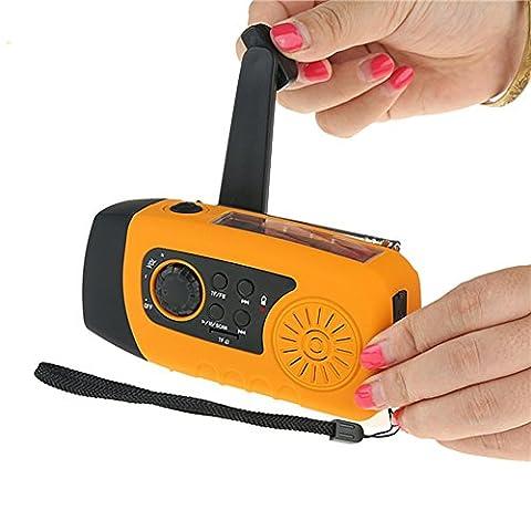 Solar hand crank self powered emergency flashlight/ 2000mAh power bank TF card slot for MP3 (Autoalimentato Torcia)