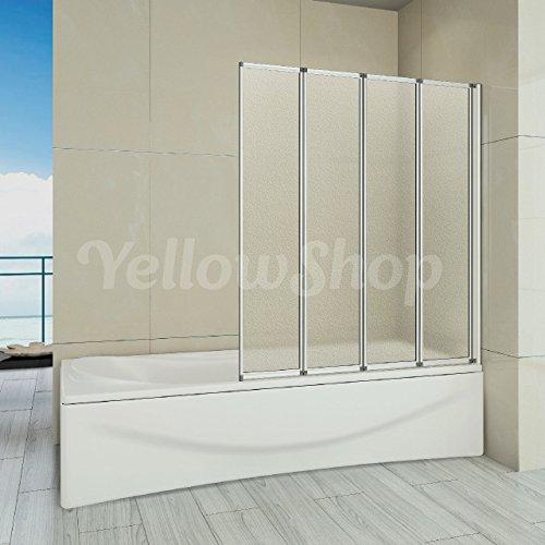 Yellowshop - Parete Vasca Sopravasca Bagno Pieghievole In Alluminio a 4 ante in Cristallo Puntinato Opaco 4mm Misura cm 100 Altezza cm 140 Versione Destra