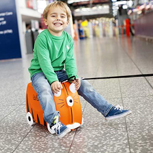 Trunki Valise Enfant à Roulette à Chevaucher et Bagage Cabine - Animaux: Tipu le Tigre (Orange)