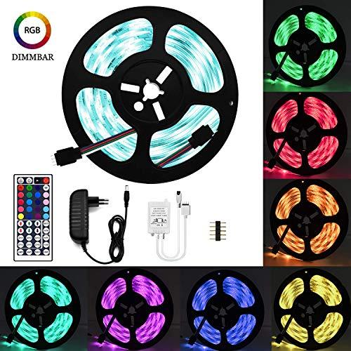 LED Streifen set, 5M 5050 RGB LED Strip lights,Led Band mit Fernbedienung 44 Tasten,Led RGB Controller mit Netzteil 12V 3.5A ,LED Band, LED Lichterkette, LED Lichtschläuche [Energieklasse A+] - Marken-streifen