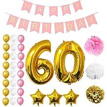 Globos Cumpleaños Happy Birthday #60, Suministros y Decoración por Belle Vous - Globo Grande de Aluminio 60 Años - Decoración Globos De Látex Dorado, Blanco y Rosa - Apto para Todos los Adultos
