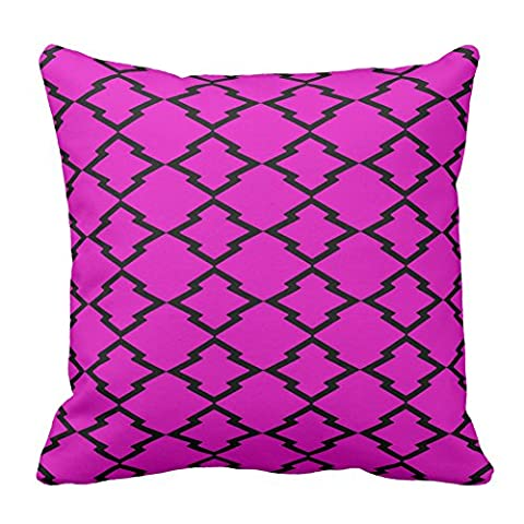 Geometric Pattern Lattice Gingham Checks Hot Pink Decorative Pillowcase Pillow Covers For Sofa Cushion Covers 18X18 Inch