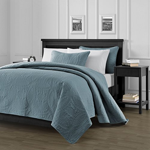 Chezmoi Collection Austin 3-Piece Oversized Bedspread Coverlet Set King, Spa Blue, 118 by 106-Inch by Chezmoi