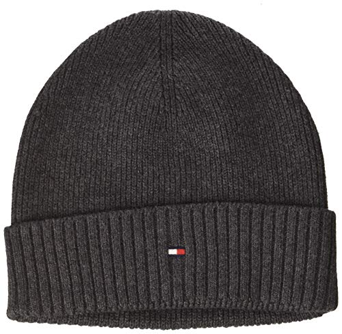 Tommy Hilfiger Herren SMU New Pima Cotton Beanie Strickmütze, Grau (Grey 0In), One Size
