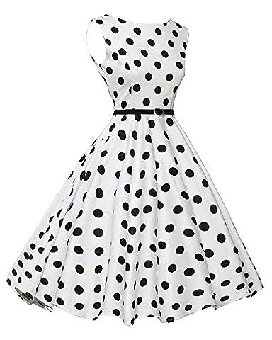 Damen 50S Vintage Hohe Taillen Hepburn Stil Print Kleid Swing Cocktailkleid