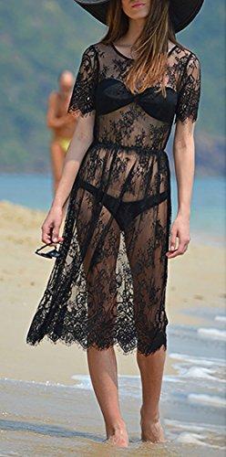 Teamyy Sexy Robe de plage Femmes Dentelle Crochet creux Noir