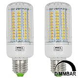MENGS® 2 Stück Dimmbar E27 15W LED Lampe Warmweiß 3000K AC 220-240V 120x5736 SMD Mit Aluminium Platte und PC Material