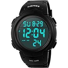 SunJas Reloj Electrónico Impermeable de 50m de Multifunciones Pulsera de Moda con Luces para Deportes Exteriores