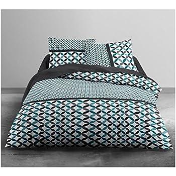 Today Parure De Lit Pour 2 Personnes Polyester Bleu Noir 220x240