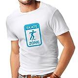 Männer T-Shirt Skate Zone - Für Skater, Skate Longboard, Skateboard Geschenke, Skating Ausrüstung (XX-Large Weiß Blau)
