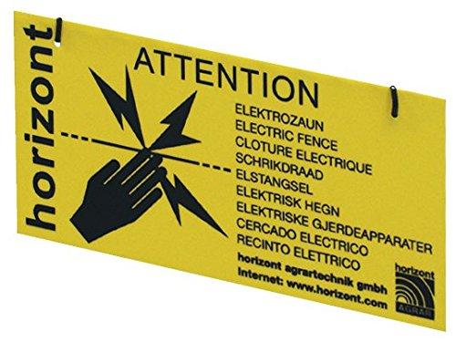 "WARNSCHILD für Elektrozaun \""Vorsicht Elektrozaun\"" ( 4 STÜCK) beidseitig bedruckt, 20 x 10 cm, inkl. Befestigungsmaterial"