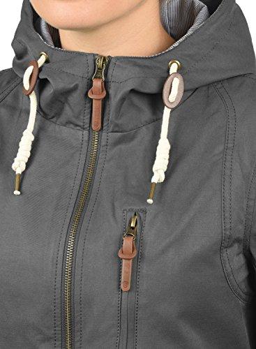 DESIRES Inata Damen Übergangsjacke Parka mit Kapuze aus hochwertigem Material Dark Grey (2890)