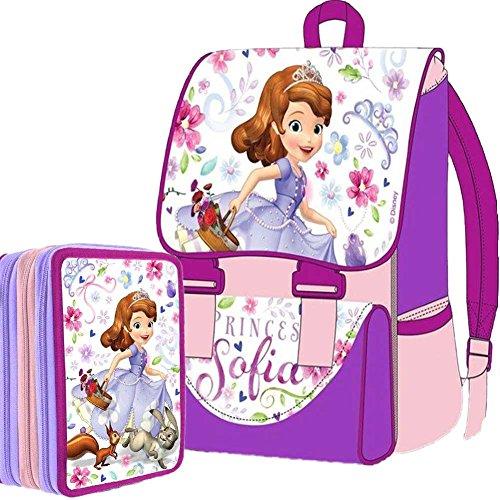 Kit Scuola School Pack Zaino Estensibile + Astuccio 3 Zip Disney Princess Sofia Edizione 2015-2016
