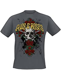 Guns N' Roses Rose Cross T-shirt gris foncé
